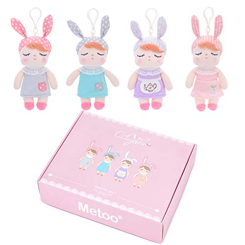 """Me Too Baby Doll Girl Gifts Crib Toys Set with Hanger 7"""" Dolls in Gift Box 4 Pieces"""