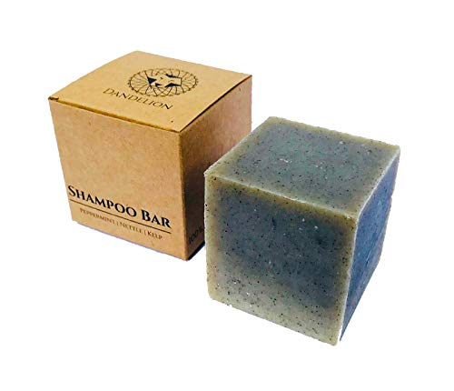 Dandelion Solid Shampoo Bar for Oily Hair | Peppermint, Nettle & Kelp | 100% Natural & Vegan, with NO Palm Oil, Plastic, SLS, or Parabens