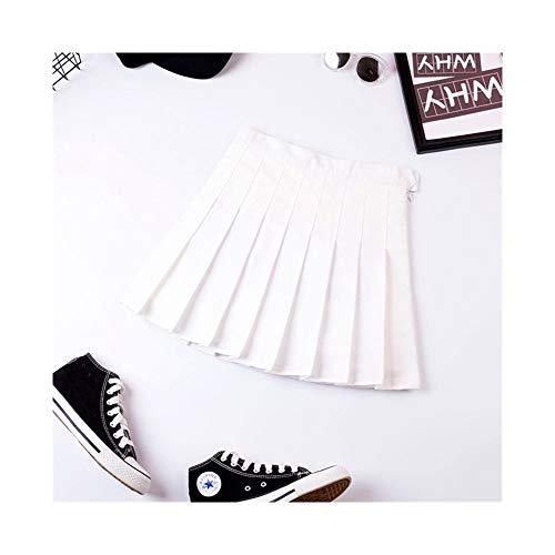 Falda plisada negra para mujer de primavera y otoo, falda a cuadros, cintura alta a Word Institute of Wind Wild Bottoming falda, faldas de verano prrafo corto (color: 617 blanco puro, tamao: M)