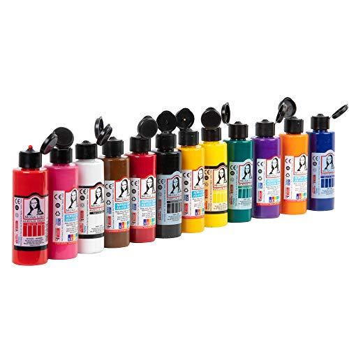Monalisa Acrylfarben Set Wasserfest und Lebendige Acrylic Paint zum Malen auf Holz und Steine für Kinder, Erwachsene, Hobbymaler und Studenten | 70ml Flaschen, 12er-Set |