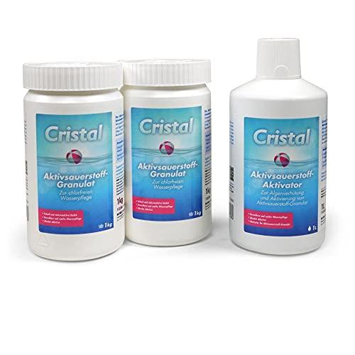 Bayrol MEGA-Spar-Set Cristal - 2X 1,0 kg Aktivsauerstoff Granulat + 1x 1,0 l Aktivsauerstoff Aktivator
