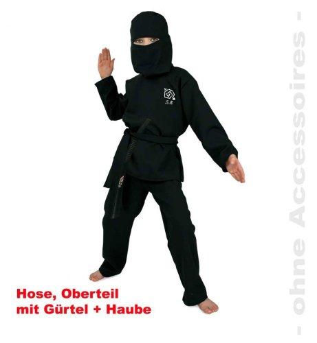 Fries 2078 Ninja Kostüm schwarz mit Gürtel und Haube Kinder Fasching Karneval: Größe: 128