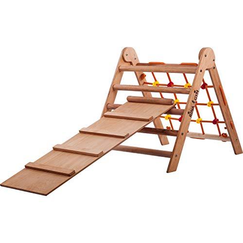 RINAGYM-Kletterdreieck-Indoor-Leiter mit Kletternetz und Rutche- Holzrahmen für Kinder, fördert das Gleichgewicht - Farbe & Lack auf Wasserbasis- 50 kg Tragkraft.