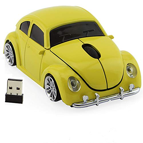 2.4GHz Wireless Mouse Cool 3D Sports Car Shaped Ergonomic Optical Cordless Mice with USB Receiver for PC Laptop Computer Notebook 1600DPI (Yellow) LIKE SHOW