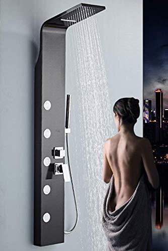 Generico Colonna Doccia Pannello idromassaggio con Miscelatore Effetto Cascata con doccetta, doccione e getti idromassaggine (Nero)
