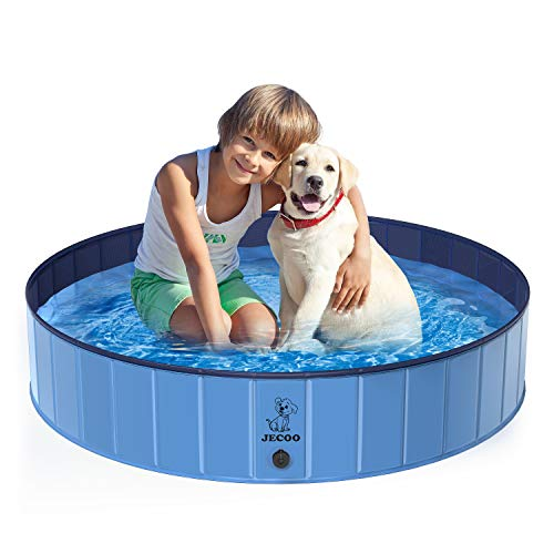 Jecoo Foldable Dog Pool Pet Bath Portable Kiddie Pool for Kids PVC Bathing Tub Outdoor Swimming Pool for Large Small Dogs