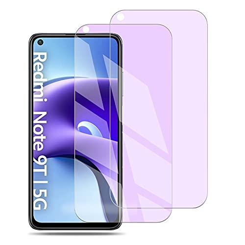 2 Pcs Protector de Pantalla Vidrio Templado para Xiaomi redmi Note 9 5G(Anti-Luz Azul), Templado Membrana de Cristal para Xiaomi redmi Note 9T - 9H Dureza - Sin Burbujas - Anti-Huella - Anti-A