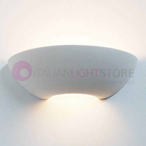Serena Applique Lampada Vaschetta da Parete Moderna Decorabile In Gesso Ceramica Colorabile Verniciabile L. 32 Cm Illuminazione Interni