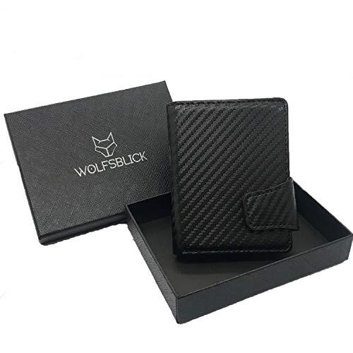 WolfsBlick,kartenetui Carbon klipp Portemonnaie, Slim Wallet, kartenportmonai Herren, Geldbeutel, Platz für bis zu 12 kreditkarten + Geldscheine geeignet, Wallets for Men, Portemonnaie Damen Leder