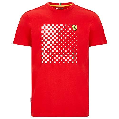 2020 Scuderia Ferrari F1 Herren-Poloshirt, offizielle Fanwear-Kollektion, Rot kariertes Grafik-T-Shirt, Herren (S) Brust 88-92 cm