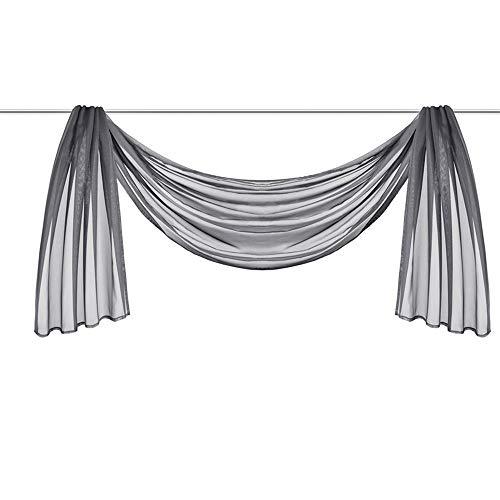 CULASIGN 1 Stück Voile Vorhang Transparent - Querbehang Stores Gardinen Schals Himmelbett Hochzeit Dekoschals Vorhänge Schals (Gray 55-1,HxB 145x400cm)