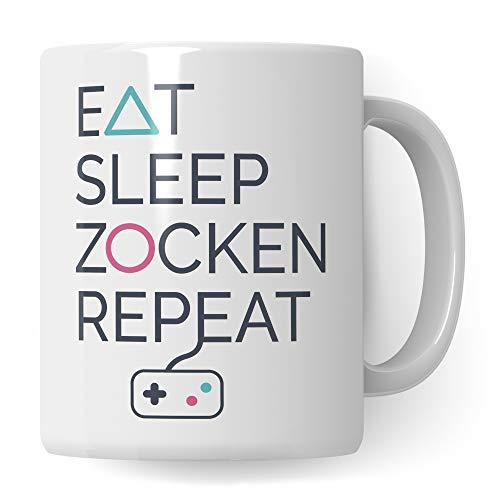 Pagma Druck Gaming Tasse Geschenk, Zocker Geschenke für Männer, Gamer Geschenkidee Kaffeetasse, Becher Zocken Konsole Controller Computerspiel Kaffeebecher