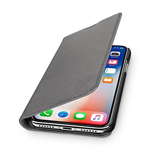 WIIUKA Echt Ledertasche - TRAVEL Nature - für Apple iPhone X & XS -DEUTSCHES Leder- Vintage Grau, kabelloses Laden Qi, mit Kartenfach, extra Dünn, Tasche, Leder Hülle kompatibel mit iPhone X/XS