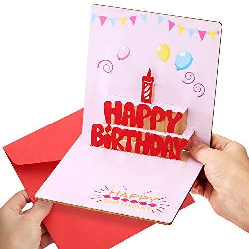 3D HöLzerne Geburtstagskarte 3D Geburtstagskarte Pop-Up-Geburtstagskarte Handgemachte Geburtstagskarte Pop-Up-GrußKarte Mit Umschlag, Geburtstagskarte FüR Sie Ihn Frauen MäNner Frau Tochter Freundin