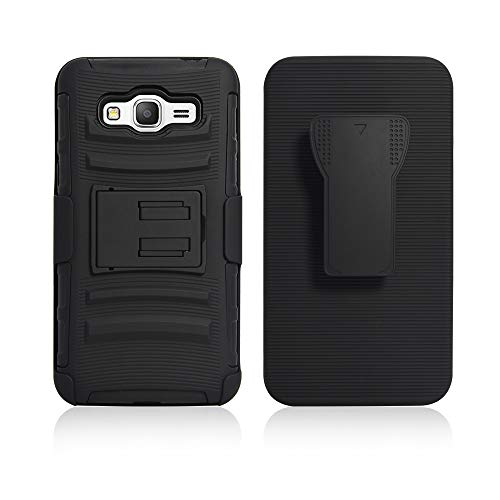 Cocomii Striped Belt Clip Holster Galaxy Grand Prime Case, Slim Thin Matte Kickstand Swivel Belt Clip Holster Reinforced Drop Protection Bumper Cover Compatible with Samsung Galaxy Grand Prime (Black)