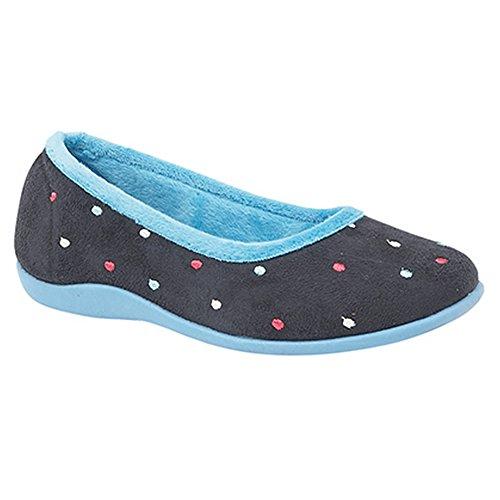 Sleepers - Zapatillas de estar por casa modelo Isla Dotted con duela de memory foam para mujer (40 EU/Azul)