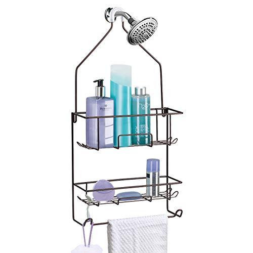 Shower Caddy Hanging over Shower Head Rust Roof Shower Organizer with 10 Hooks for Razor Shampoo Holder Bathroom Shower Rack Storage Shelf with Towel Bar – Bronze