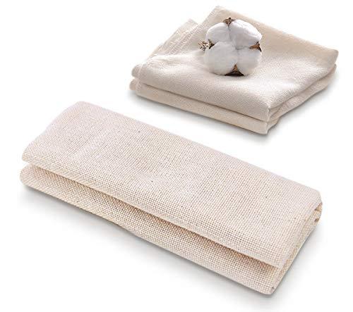 Bgfuni 3-pack fyrkantiga mjuka muslindukar för silning, ren bomullstyg, återanvändbar ostduk, lämplig för att filtrera vinöl, frukt och mjölk, ångande hemma (2 x 50 x 50 cm, 1 x 90 x 90 cm)