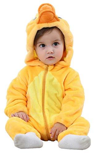 Pelele para bebé recién nacido, unisex, diseño de animales, con cremallera y capucha, mono de franela para otoño e invierno Pato amarillo 0-6 Meses