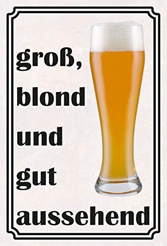 Schatzmix Bier Spreuk groot blond en goed uitziend metalen bord wanddecoratie 20x30 cm tin sign blikken bord, blik, meerkleurig