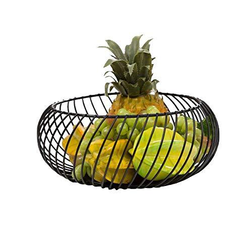 Metalen fruitmand, vintage zwart, ijzeren ronde fruitmand, boodschappenmand, wijzerplaat voor snack fruit