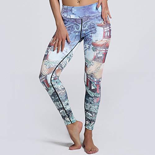YJKGPZQLZ Yoga Legging Pantalon Imprimé Femmes Pavillon Flexible Peinture Imprimer Pantalon Serré Entraînement Gym Entraînement Course À Pied Yoga Sport Fitness Exercice Leggings,S