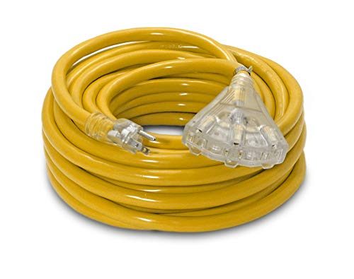 50-ft 10/3 Heavy Duty 3-Outlet Lighted SJTW Indoor/Outdoor Extension Cord by Watt's Wire - Yellow 50' 10-Gauge Grounded 15-Amp Three-Prong Power-Cord (50 foot 10-Awg)