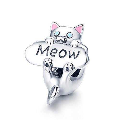 Charms Bead Gato,Mujeres Charm Abalorios Pandora Joyería Silver Plated Gato Animal Vintage Bracelets Cat Accessories Best Gift