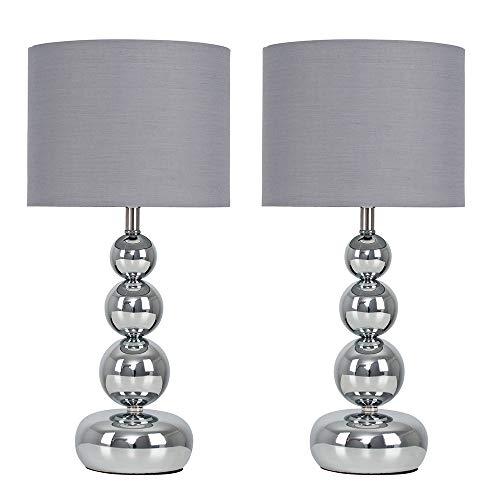 Minisun - Juego de Lámparas de Mesa Modernas Táctiles – Diseño de Esferas Apiladas - Bases en Cromo con Pantallas de Tela Gris – Lámparas de Mesita