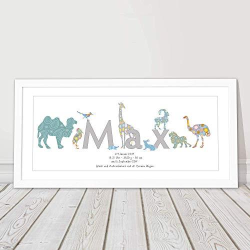 Geschenk zur Geburt, Taufgeschenk, Namensbild personalisiert, Babygeschenk, Junge, Mädchen, Taufe, Geburtstag Geburtsgeschenk, 26 x 53 cm