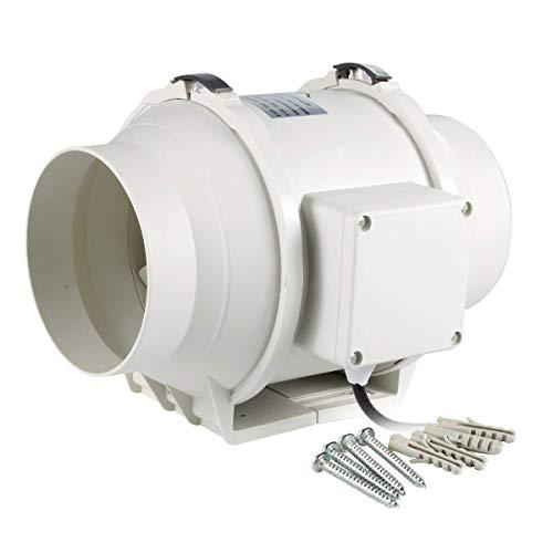 Hon&Guan 125mm Rohrventilator Mischdurchfluss Rohrlüfter mit Starker Abluft System 284m³/h für Büro, Bad, Halle, Hydroponic Zimmer (ø125mm standard)