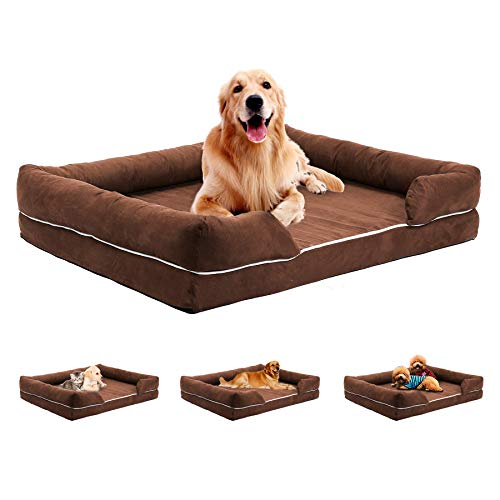 Sfeomi Pet Sofa Couch 69x54x14cm Chamois Leather Cat Dog Bed Rectangle Pet Sofa Bed with Removable Washable Cover Large Brown