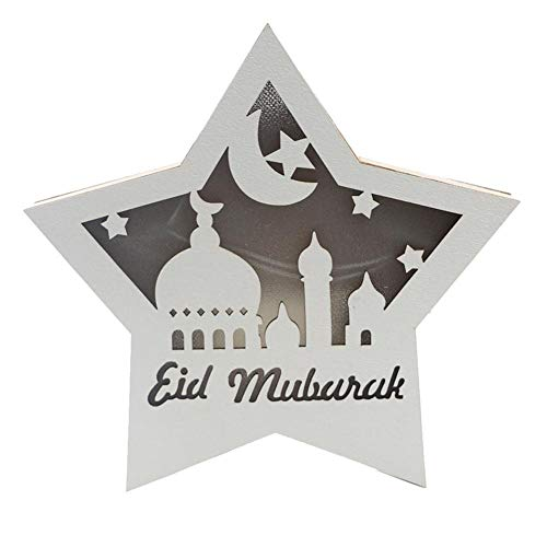 Luckything eid LED-licht hout mooie lamp decoratie stervorm lantaarn mubarak Ramadan LED hout DIY lamp, moslimische isslam eid festival decoratief licht voor thuis, kantoor en palast