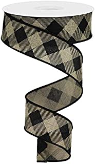 Wired Ribbon Diagonal Check Plaid Black and Beige 1.5 Inches x 10 Yards for Wreaths, Gift Wrapping, Crafting, Floral Arrangements
