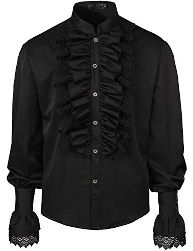 VATPAVE Mens Ruffle Pirate Shirts Medieval Renaissance Cosplay Costume Steampunk Victorian Tops X-Large Black LC51