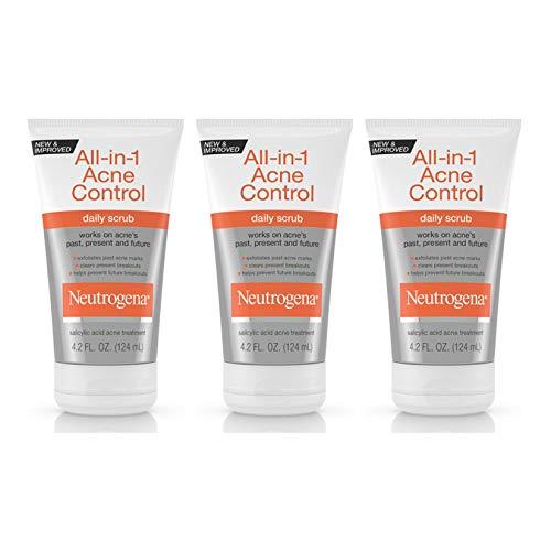 Neutrogena All-In-1 Acne Control Daily Face Scrub to Exfoliate and Treat Acne, Salicylic Acid Acne Treatment, 4.2 fl. oz (Pack of 3)