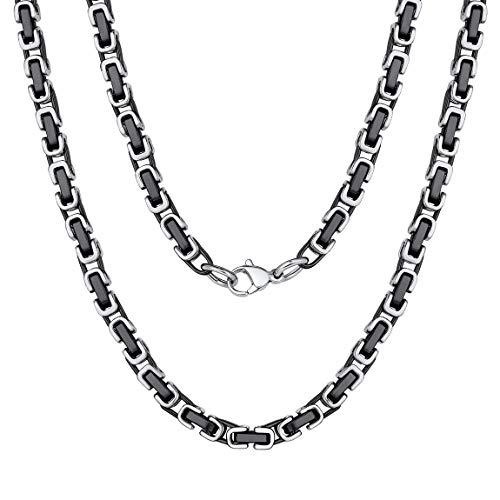 ChainsPro Collana da uomo a catena bizantina, acciaio/acciaio oro/acciaio nero/oro nero, 4 mm, 18-30 pollici