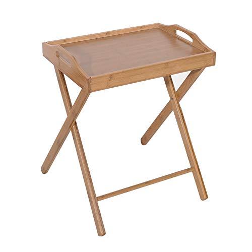 XHONG Mesa de comedor plegable de bambú con bordes para aperitivos, mesa plegable para televisión, mesa de inundación para cena, fiesta, picnic, camping