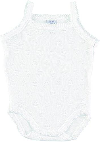 BABIDU 1101 Body Tirante Fino Calado Corazones Ropa de Bautizo, Blanco (Blanco 1), 80 (Tamaño del Fabricante:12) Unisex bebé