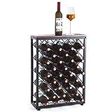 Fox Flower Wine Rack, Floor Wine Holder Free Standing Wine Storage with Table Top Metal Wood Frame Wine Shelf for Home Bar Cabinet Pantry, 32 Bottles