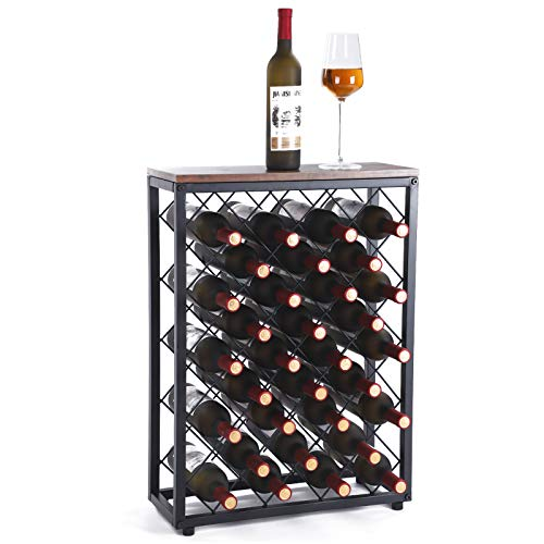 Fox Flower Wine Rack, Floor Wine Holder Free Standing Wine Storage with Table Top Metal Wood Frame Wine Shelf for Home Bar Cabinet Pantry, 32 Bottles