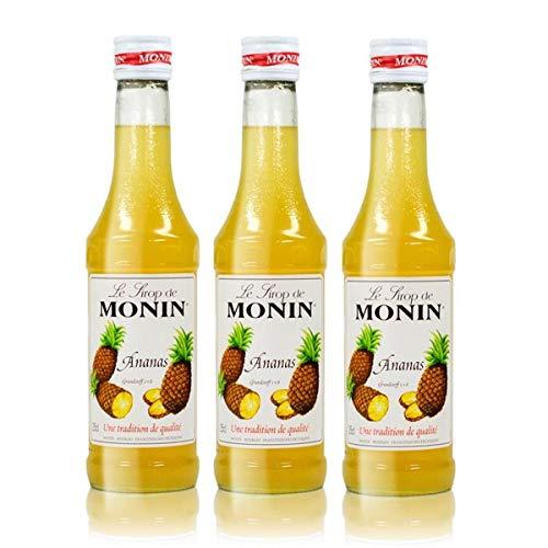 3x Monin Ananas Sirup, 250 ml Flasche - für Cocktails, zum Kaffee oder Kochen