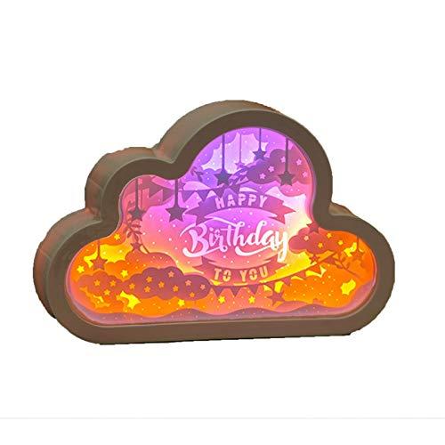 PULLEY Nube forma de papel escultura decoración noche luz día de San Valentín/mediados otoño Festival regalo DIY material foldover lámpara adecuada para niños dormitorio sala de estar