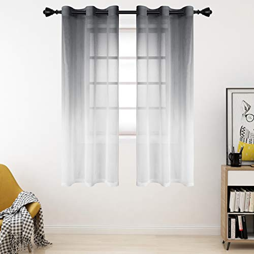 Bermino Faux Linen Ombre Sheer Curtains, 42 x 63 inch, Grey - Grommet Gradient Voile Semi Sheer Curtains for Bedroom and Living Room, Set of 2 Curtain Panels