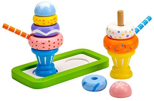 Idena 4100110 - Kleine Küchenmeister Eisbecher Set aus Holz, für Spielküche und Kaufmannsladen, ab 3 Jahre, ca. 15 x 10 x 10 cm