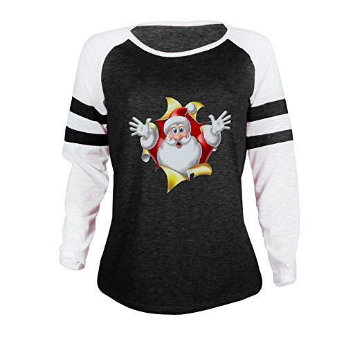 WERVOT Langarmshirt Damen Weihnachten Gedruckt Pullover Tunika Farbblock Langarm...