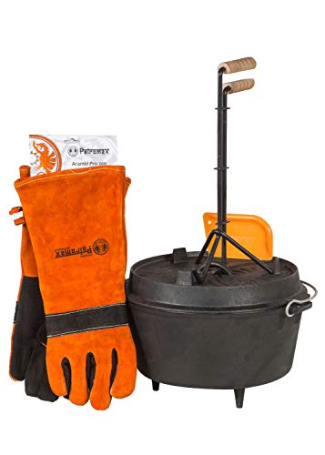 Petromax Feuertopf Starterset ft9 (Dutch Oven mit Standfüßen) inkl. Schaber + Handschuhe + Profi-Deckelheber