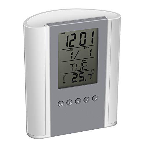 Bolígrafo digital, soporte para lápiz, reloj despertador digital multifunción con termómetro, temporizador...