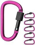 Outdoor Saxx® – 5 moschettoni a vite grandi per il fissaggio di attrezzature, alluminio, 8 cm, rosa, nero, confezione da 5