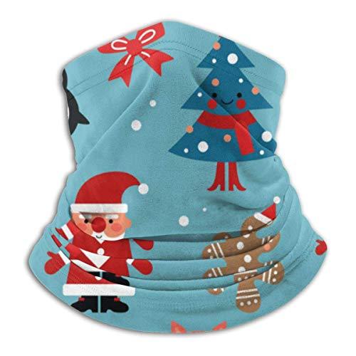 Xian Shiy Patrón de personajes de Navidad Santa Gingerbread Fleece Neck Warmer Heat Trapping Neck Gaiter Tube Soft Elastic Balaclava Half Unisex